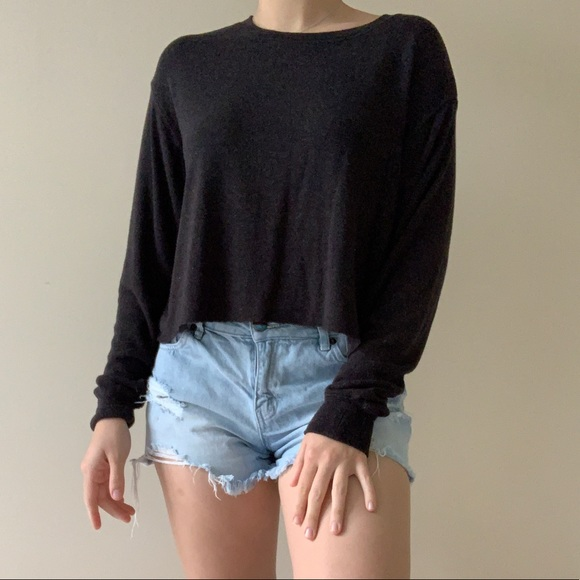 Mossimo Charcoal Gray Cropped Pullover Sweater